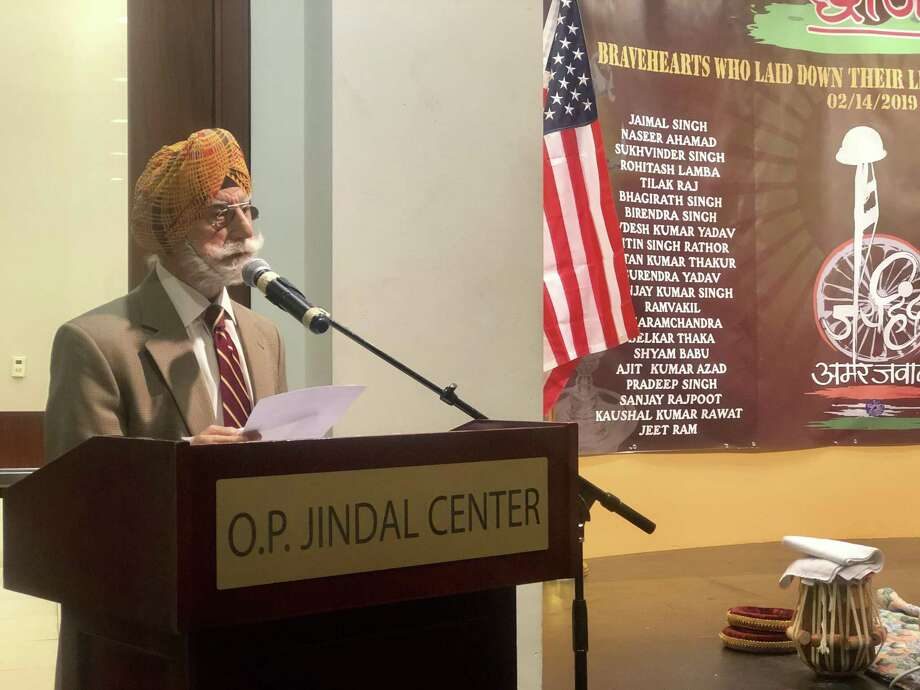 Raj Bhalla, a former Indian Army colonel, speaks at India House in southwest Houston on Wednesday, Feb. 20, 2019 in honor of Indian soldiers killed in a terrorist attack the previous weekend. Photo: Massarah Mikati / Houston Chronicle