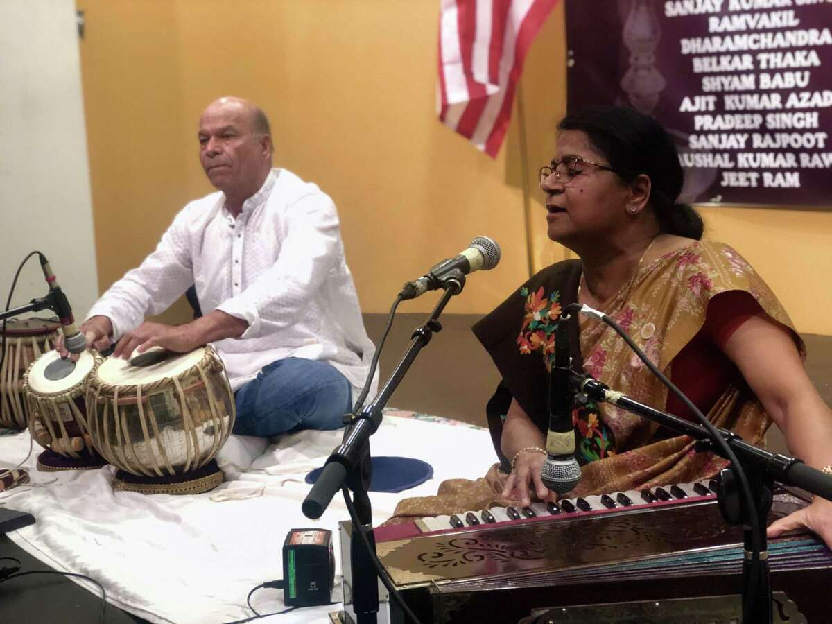 Smriti Srivastava and Govind Shetty perform patriotic songs at India House in southwest Houston on Wednesday, Feb. 20, 2019 in honor of Indian soldiers killed in a terrorist attack the previous weekend.