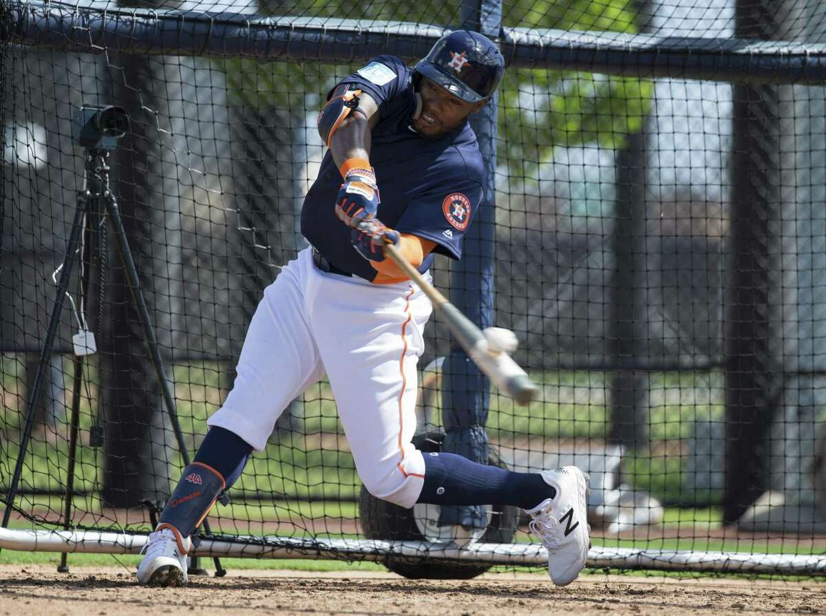 Astros outfield prospect Ronnie Dawson, who slashed a cumulative .258./333/.428 and stole 35 stolen bases between high Class A and AA last year, takes a cut during batting practice at the Ballpark of the Palm Beaches.
