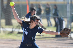 Greenwood's Karlie Savage (1) pitches against Andrews during the West Texas Classic softball tournament Feb. 21, 2019, at Ulmer Park. James Durbin/Reporter-Telegram