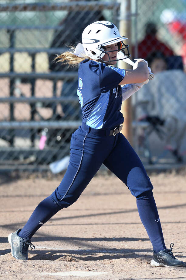 Greenwood's Raylee Watkins hits against Andrews during the West Texas Classic softball tournament Feb. 21, 2019, at Ulmer Park. James Durbin/Reporter-Telegram Photo: James Durbin / ? 2019 Midland Reporter-Telegram. All Rights Reserved.