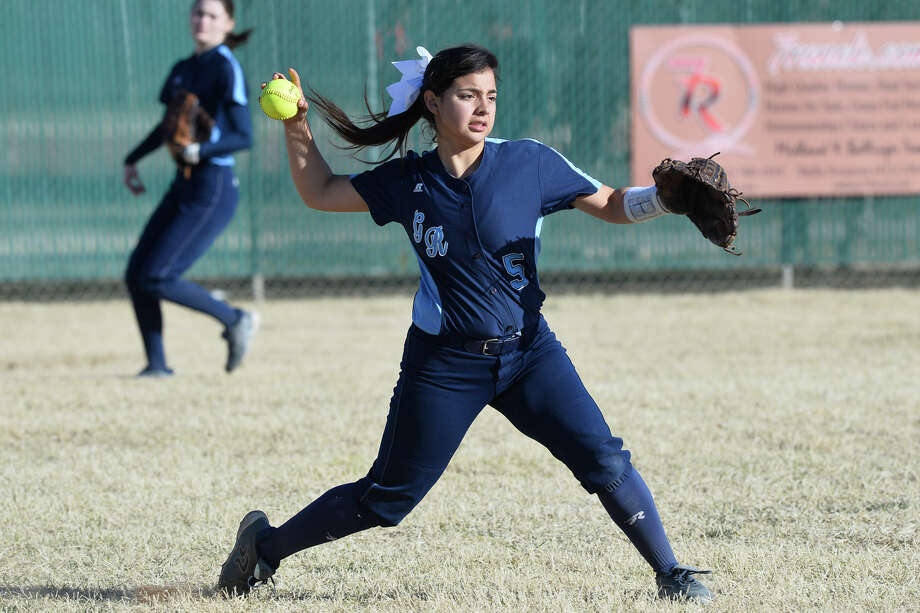 Greenwood's Prescilla Gonzalez throws the ball to the pitcher after stopping a hit from Andrews in the West Texas Classic softball tournament Feb. 21, 2019, at Ulmer Park. James Durbin/Reporter-Telegram Photo: James Durbin / ? 2019 Midland Reporter-Telegram. All Rights Reserved.