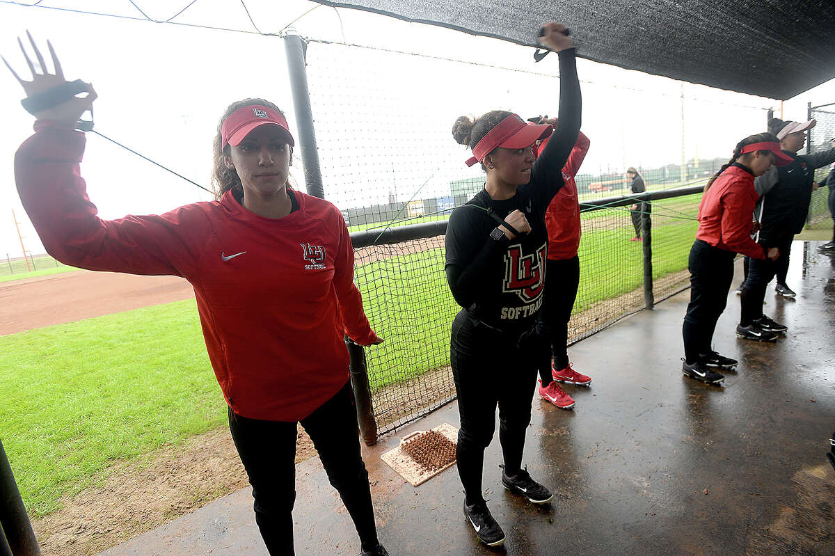 Lamar's as the softball team gets in practice Thursday before Friday's Cardinal Classic and home opener against Rhode Island. Photo taken Thursday, February 21, 2019 Kim Brent/The Enterprise