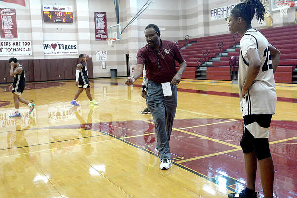 "Silsbee gets in practice after school Wednesday as they prepare for upcoming playoffs Friday. The Tigers are setting their eyes on the state championhip again this year, hoping for a ""three-peat"" of their title winning streak. Photo taken Wednesday, February 20, 2019 Kim Brent/The Enterprise"