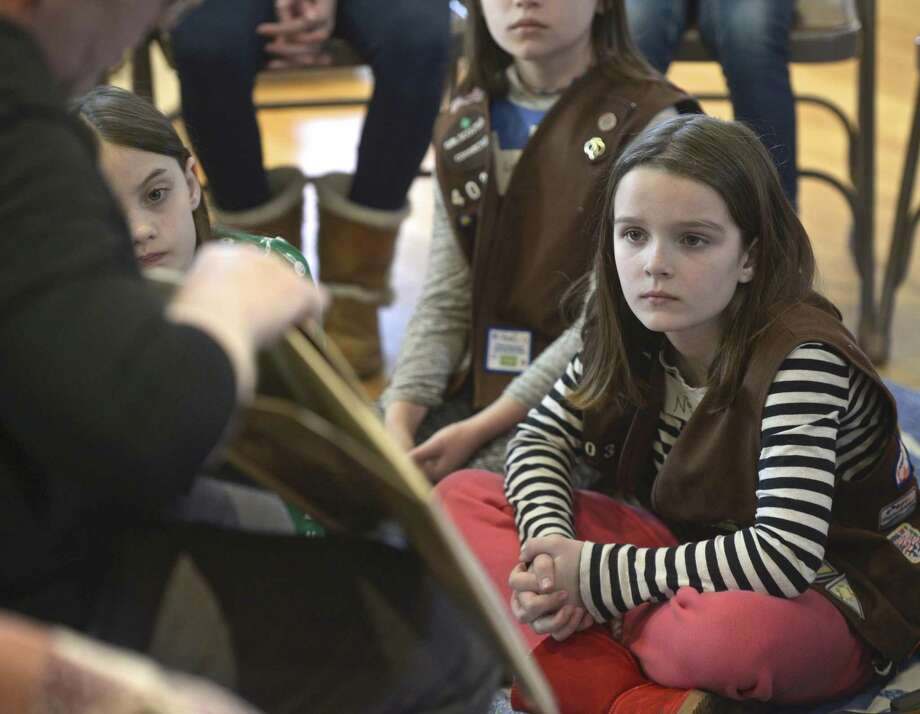 Nia Evans, of New Milford, listens to a presentation at the New Milford Historic Society which hosted a program for second to fifth graders on the Underground Railroad and the role New Milford played. Thursday, February 21, 2019, in New Milford, Conn. Photo: H John Voorhees III / Hearst Connecticut Media / The News-Times