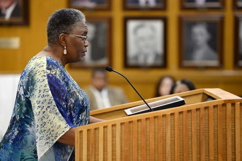 Zenobia Bush speaks against the name change during the Beaumont ISD board meeting. The board voted to change the name of the Thomas Center stadium.