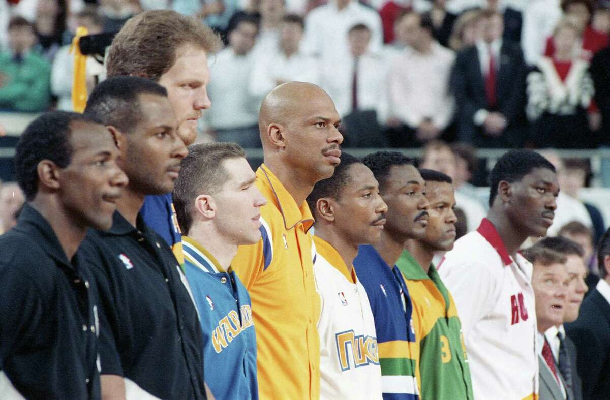 Western Conference All Star squad at the 1989 NBA All Star Game at the Astrodome, Feb. 12, 1989.