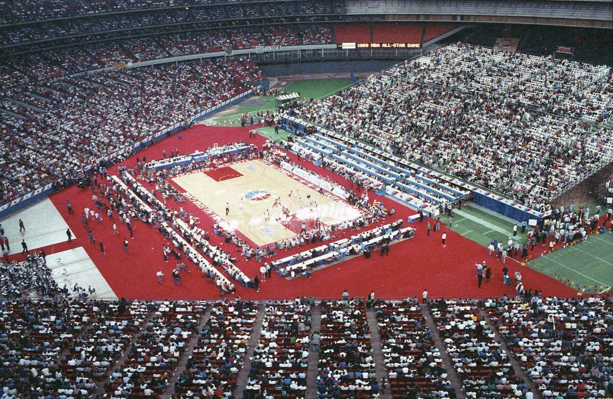 Scene at Astrodome during the 1989 NBA All Star Game, Feb. 12, 1989.