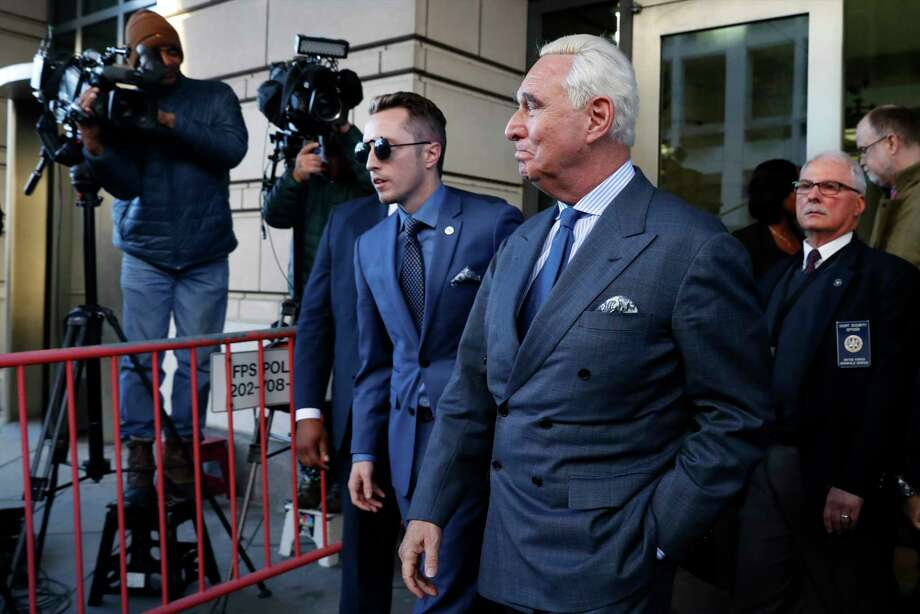Former campaign adviser for President Donald Trump, Roger Stone, leaves federal court Thursday, Feb. 21, 2019, in Washington. A judge has imposed a full gag order on Trump confidant Roger Stone after he posted a photo on Instagram of the judge with what appeared to be crosshairs of a gun. (AP Photo/Jacquelyn Martin) Photo: Jacquelyn Martin / Copyright 2019 The Associated Press. All rights reserved.