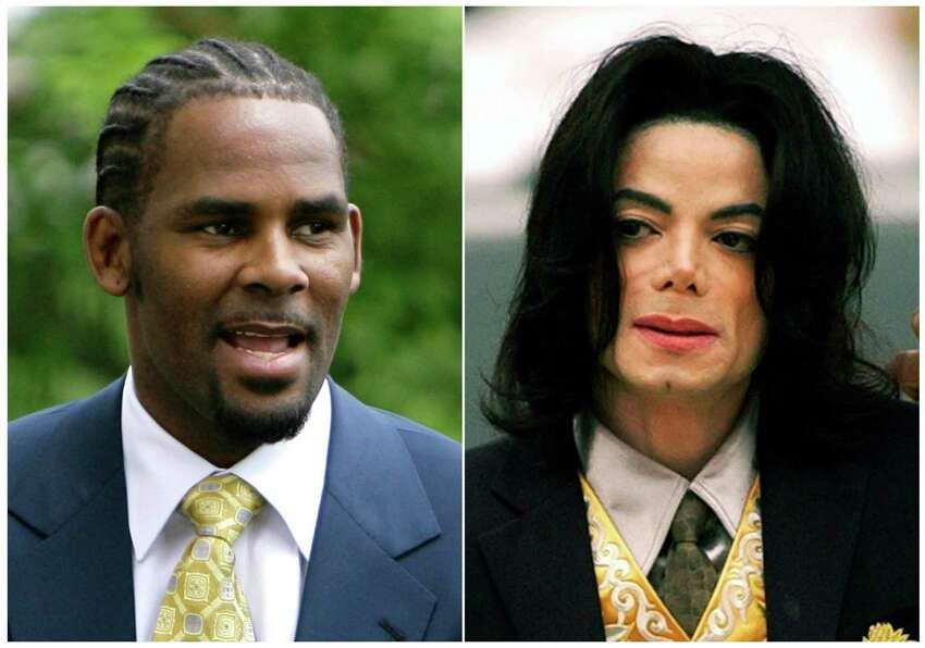 This combination photo shows R&B singer R. Kelly, arriving at 3the Cook County Criminal Court Building in Chicago on June 13, 2008, left, and pop icon Michael Jackson arriving at the Santa Barbara County Courthouse for his child molestation trial in Santa Maria, Calif. on May 25, 2005. The path to the screen can be tough for the makers of documentaries that make damaging claims about powerful people, such as the recent Lifetime series ?