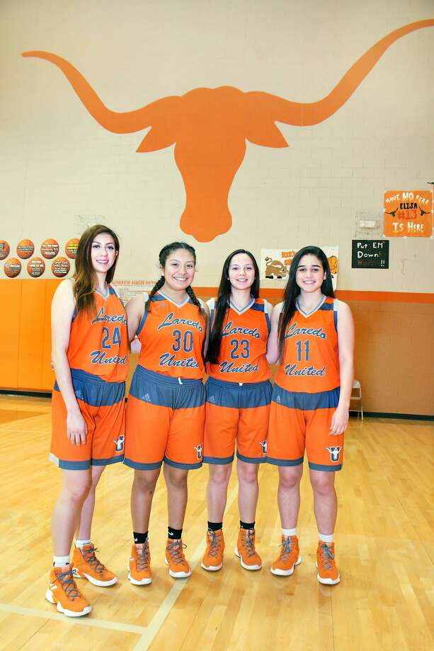 The seniors on the 2018-2018 United Lady Longhorns basketball team are, from left, Audrey Batey, Ileana Rodriguez, Natalia Treviño and Olivia Campero. Photo: Cuate Santos / Laredo Morning Times / Laredo Morning Times