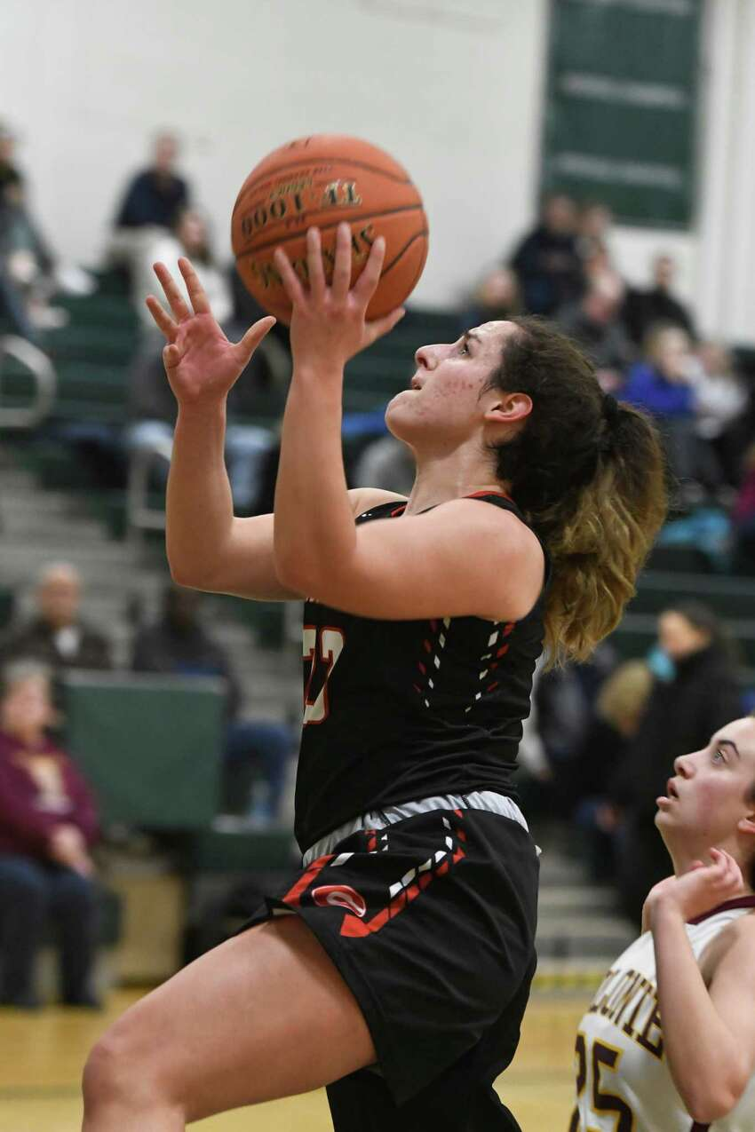 Guilderland's Gracianna Serravillo takes a shot on the Colonie basket during their sectional quarterfinal on Thursday, Feb. 21, 2019, in Clifton Park, N.Y. (Jenn March, Special to the Times Union )