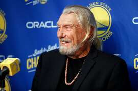 Former Golden State Warriors' head coach Don Nelson during press conference before Warriors play Sacramento Kings in NBA game at Oracle Arena in Oakland, Calif., on Thursday, February 21, 2019.