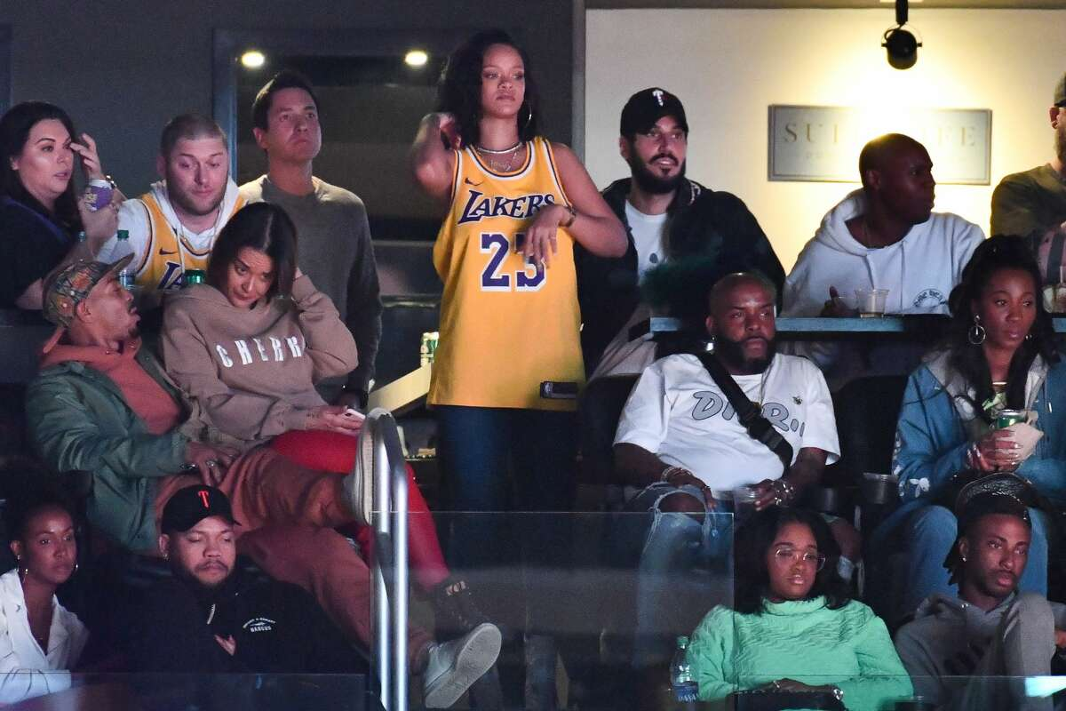 Rihanna Other Celebrities At The Rockets Lakers Game