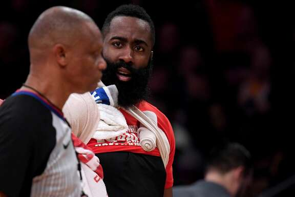 LOS ANGELES, CALIFORNIA - FEBRUARY 21:  James Harden #13 of the Houston Rockets argues with referee Michael Smith #38   after getting three fouls during the first quarter in a 111-106 loss to the Los Angeles Lakers at Staples Center on February 21, 2019 in Los Angeles, California. (Photo by Harry How/Getty Images)