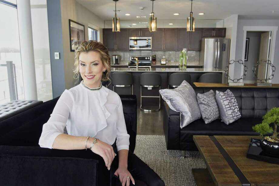 Interior designer Julie Maleski Putzel poses for a photo inside the new 1,675-square-foot Harbor Suite she designed at the Landing Hotel/Rivers Casino complex on Wednesday, Feb. 13, 2019, in Schenectady, N.Y.   (Paul Buckowski/Times Union) Photo: Paul Buckowski / (Paul Buckowski/Times Union)