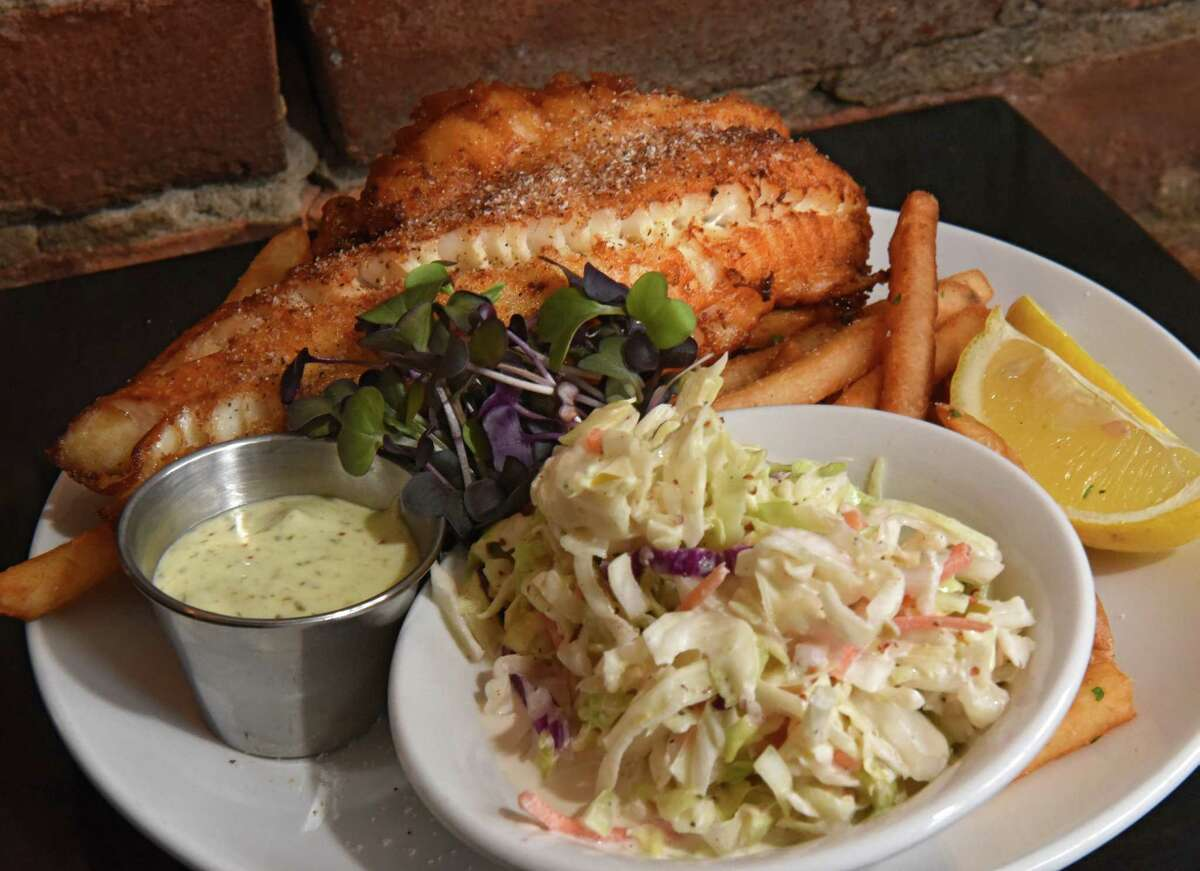 Fish and Chips - local beer battered white fish, coleslaw remoulade sauce, and malted vinegar fries at Mercantile Kitchen on Friday Feb. 15, 2019 in Saratoga Springs, N.Y. (Lori Van Buren/Times Union)