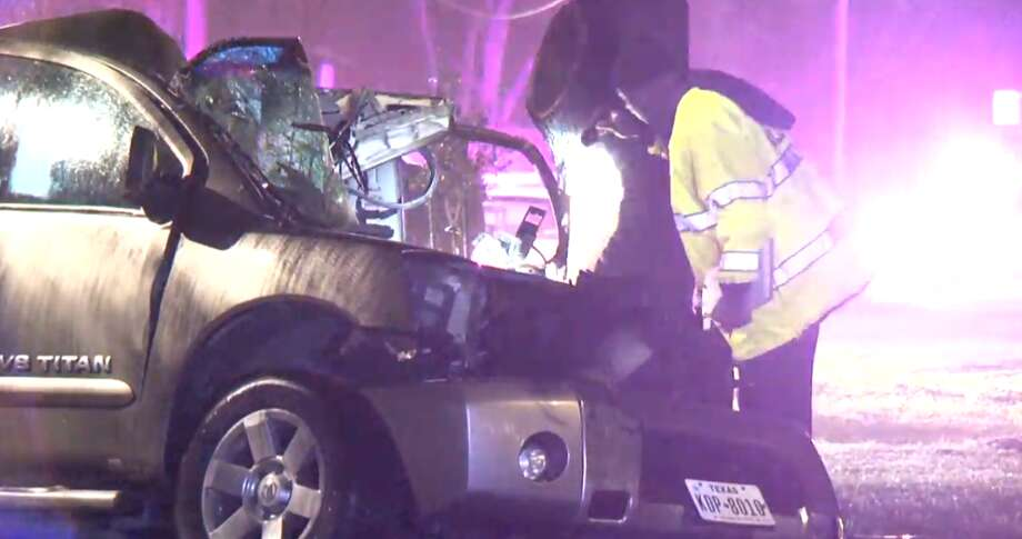 One man died in a single-vehicle crash Friday in southwest Houston. Police say speed may be a factor. Photo: Metro Video
