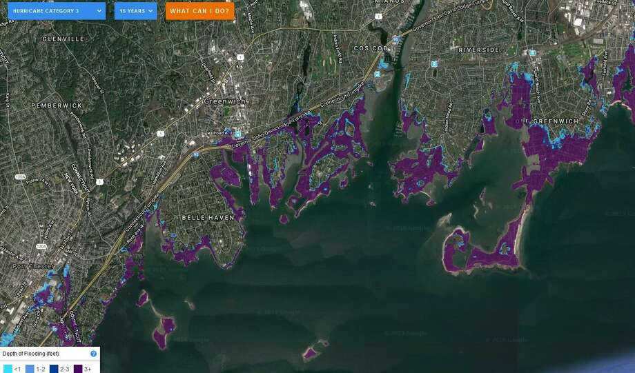 This FloodIQ.com map shows where flooding would occur in Greenwich 2034 in a Category 3 hurricane. FloodIQ.com provides a searchable tool shows how communities large and small, from  Photo: /
