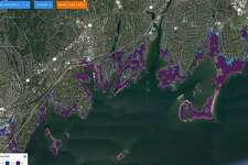 This FloodIQ.com map shows where flooding would occur in Greenwich 2034 in a Category 3 hurricane. FloodIQ.com provides a searchable tool shows how communities large and small, from Mystic to Greenwich, face greater risk of tidal flooding and storm surges over the next 15 years.