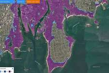 This FloodIQ.com map shows where flooding would occur in Stamford 2034 in a Category 3 hurricane. FloodIQ.com provides a searchable tool shows how communities large and small, from Mystic to Greenwich, face greater risk of tidal flooding and storm surges over the next 15 years.