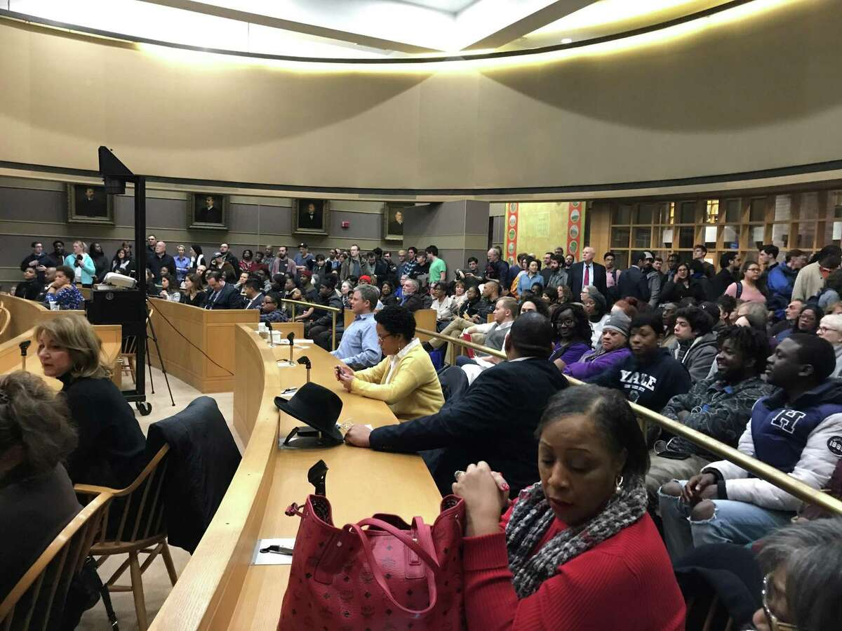 Residents packed the aldermanic chambers in City Hall for a hearing on Yale University's hiring initiatives of city residents.