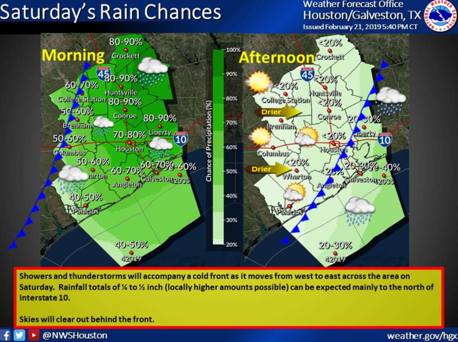 Houston is in for a rainy two days as thunderstorms threaten the area until Saturday. A cold front is also moving into the area.  >>GET COZY: Houston's best cold-weather restaurant meals to warm you up. Photo: National Weather Service