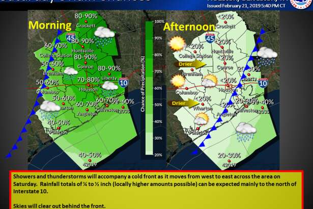The Houston area is in for a rouny two days as thunderstorms threaten the area until Saturday. A cold front is also moving into the area.