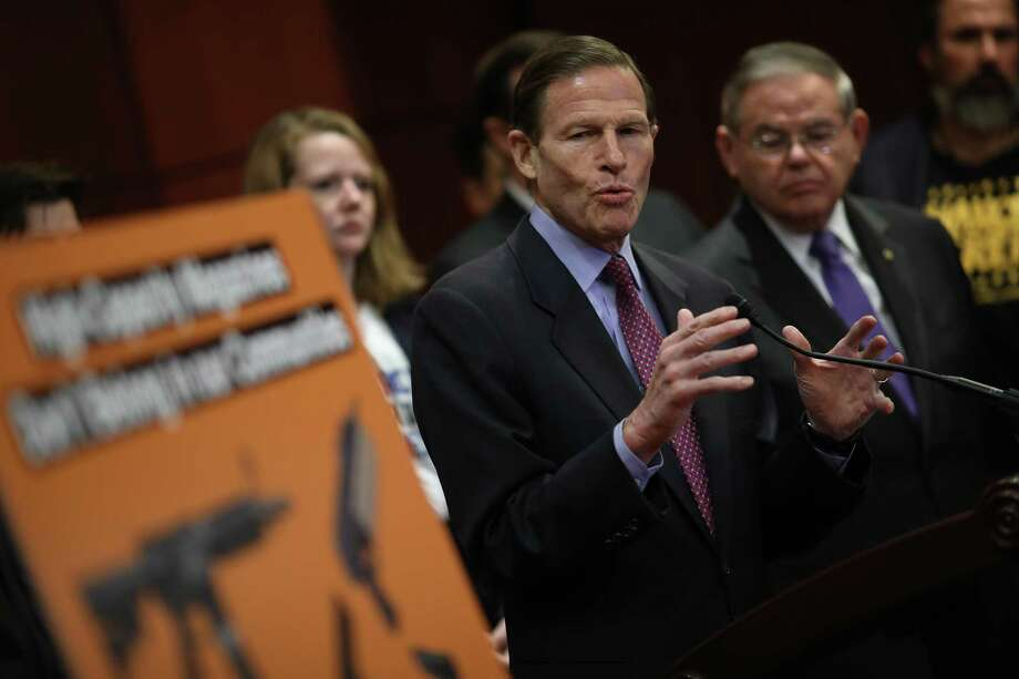 "Sen. Richard Blumenthal speaks during a press conference In February about re-introducing legislation that would ""ban the importation, sale, manufacture, transfer, or possession of gun magazines that hold more than ten rounds of ammunition."" Photo: Win McNamee / Getty Images / 2019 Getty Images"