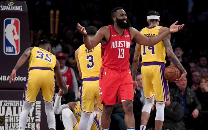 LOS ANGELES, CALIFORNIA - FEBRUARY 21:  James Harden #13 of the Houston Rockets reacts to his fifth foul during a 111-106 loss to the Los Angeles Lakers win at Staples Center on February 21, 2019 in Los Angeles, California. (Photo by Harry How/Getty Images)