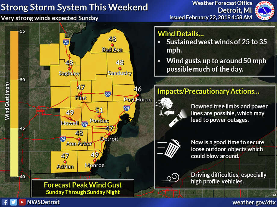 A strong low pressure system will impact the region this weekend bringing very strong winds Sunday. Photo: National Weather Service Detroit