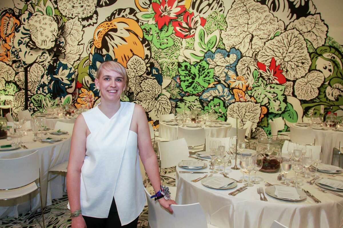 Artist Natasha Bowdoin with her art installation at Moody Center for the Arts' first-ever dinner at Rice University.