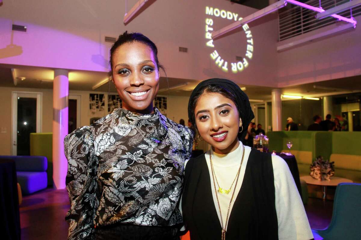 Alecia Harris, left, and Hawa Patel at the Moody Center for the Arts' first-ever dinner at Rice University.