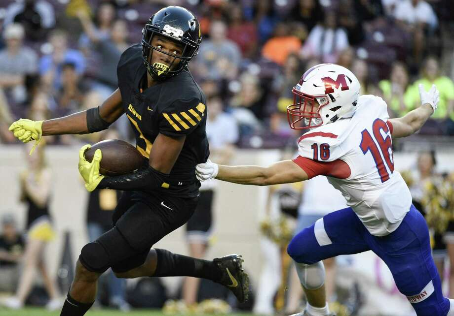 Klein Oak High School senior wide receiver Tyler Hudson earned honorable mention honors in two positions on the 68th Annual Collin Street Bakery/Texas Sports Writers Association's Class 6A all-state football team. Photo: Eric Christian Smith, Contributor / Contributor