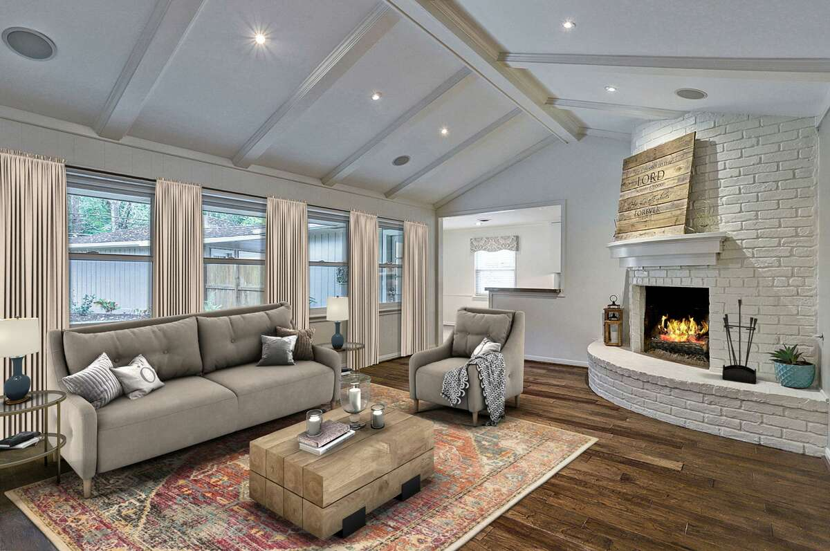 Here is a living room room that has been virtually staged.