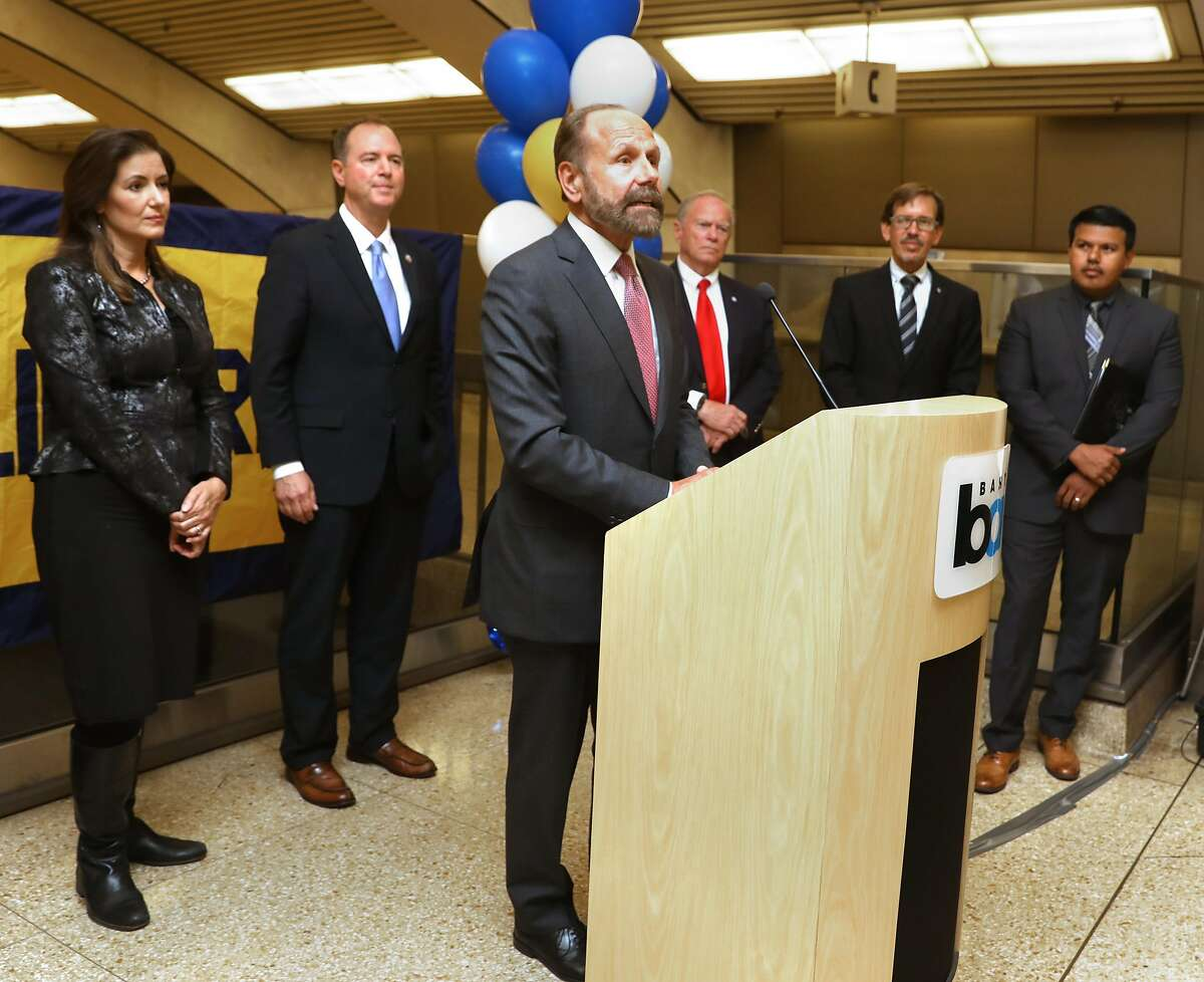 State senator Jerry Hill (middle) speaks about the earthquake early-warning alert demonstration at downtown Berkeley Bart station on Monday, Oct. 8, 2018, in Berkeley, Calif.