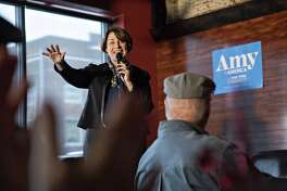 Sen. Amy Klobuchar, D-Minn. and 2020 presidential candidate, speaks during a campaign stop in Knoxville, Iowa, on Feb. 17, 2019.