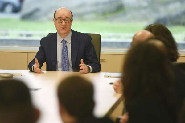 XPO Logistics CEO Bradley Jacobs speaks during a meeting at the company's headquarters at 5 American Lane in Greenwich, Conn., on July 25, 2017.