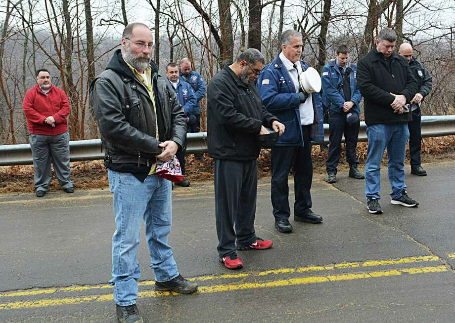 Union workers, officials, and famlies and friends of the Kleen Energy blast victims gathered Thursday morning at the memorial on River Road in Middletown to remember the six men who died Feb. 7, 2010, in the tragic gas explosion. Photo: Cassandra Day / Hearst Connecticut Media
