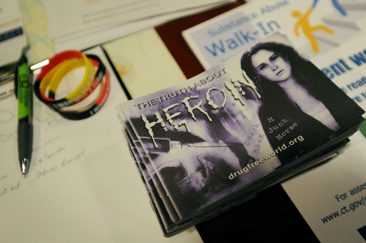 The information table during a meeting of The Hero Project, raising awareness of heroin and opiod addiction, at Molten Java in Bethel, Conn. on Sunday, January 8, 2016.