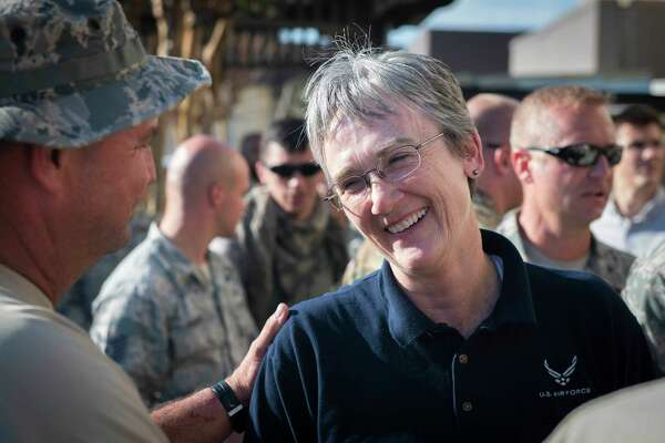 Air Force Secretary Heather Wilson speaks with airmen at Tyndall Air Force Base in Florida on Oct. 14, 2018.