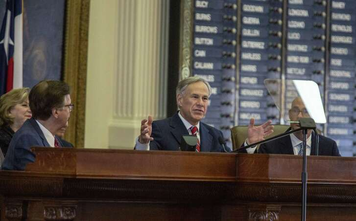 Governor Greg Abbott addresses the crowd during the State of the State on February 5, 2019 at the Texas State Capitol in Austin, Texas.