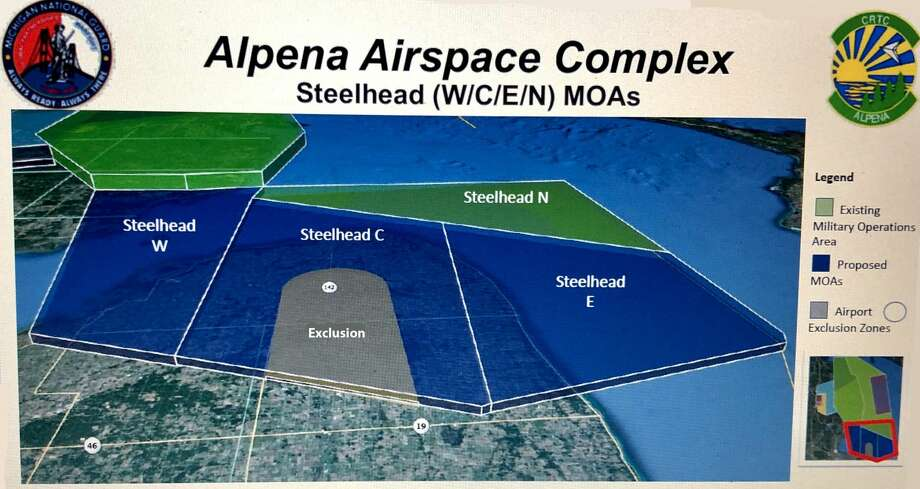 This map, provided by the Air National Guard, shows the Military Operating Areas (MOAs) the military is proposing for the Thumb area. Modifications to the airspace would include new low-altitude MOAs over portions of Huron, Sanilac and Tuscola counties. Photo: Image Provided By Air National Guard