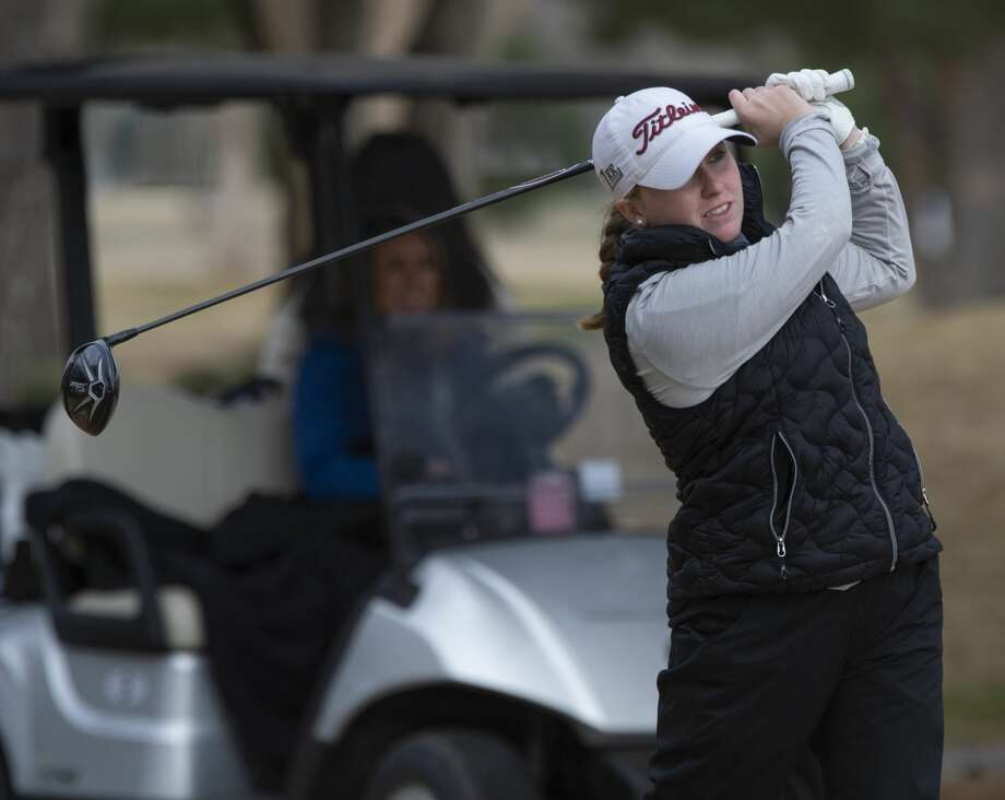 Lee High's Rebecca Reed follows her tee shot 02/22/2019 in the Tall City Girls Golf Invitational at Ranchland Hill Golf Club. Tim Fischer/Reporter-Telegram Photo: Tim Fischer