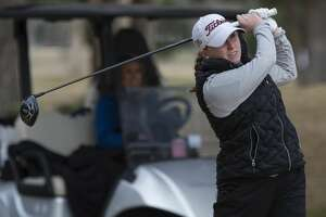 Lee High's Rebecca Reed follows her tee shot 02/22/2019 in the Tall City Girls Golf Invitational at Ranchland Hill Golf Club. Tim Fischer/Reporter-Telegram