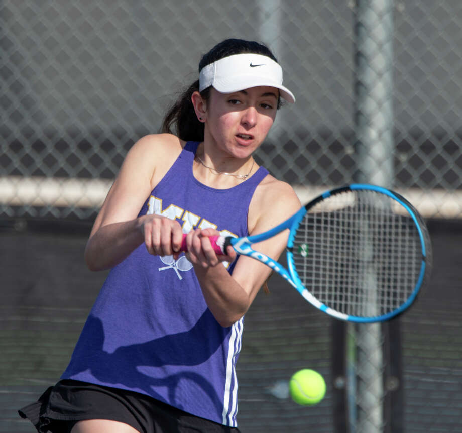 Midland High's Montserrat Salazar returns a shot 02/22/2019 in the Tall City Tennis Invitational at Bush Tennis Center. Tim Fischer/Reporter-Telegram Photo: Tim Fischer