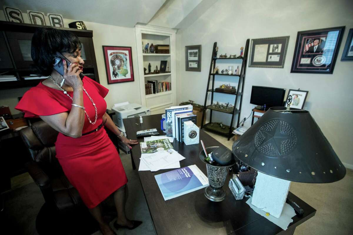 Realtor Vernice Ross works in her home office on Thursday, Feb. 21, 2019, in Houston. For the fifth year in a row, Texas has gained more than 500,000 new residents from out of state, according to the latest relocation report by Texas Realtors. And amidst the breakneck growth, Harris County leads the way. Harris County saw the greatest influx of people from out of the state, with Californians predominating the out-of-state arrivals.Ross currently works as a real estate agent in San Diego and Houston, and has helped facilitate the move from San Diego to the Lone Star State for several families.