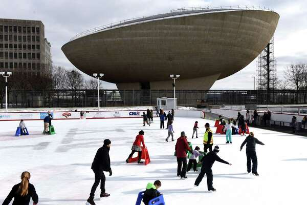 The Empire State Plaza ice rink proved to be a popular destination during the school break on Friday afternoon, Feb. 22, 2019, in Albany, N.Y. The free facility is open daily, weather permitting, from 12:00 p.m. to 8:00 p.m., with a break from 3:30-4:30 p.m. (Will Waldron/Times Union)