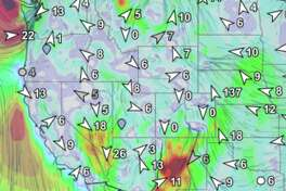 Live wind forecast from SailFlow, Feb. 22, 2019.