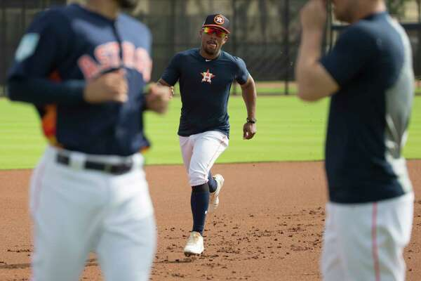 Houston Astros outfielder Tony Kemp (18) does baserunning drill at Fitteam Ballpark of The Palm Beaches on Day 9 of spring training on Friday, Feb. 22, 2019, in West Palm Beach.
